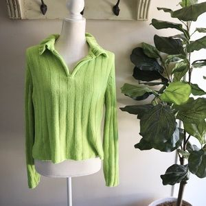90s lime green chenille sweater